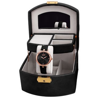 Burgi Women's Floral Black Leather Strap Rosegold tone Watch Jewelry Box Set