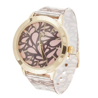 Fortune NYC Ladies Goldtone Case with Leaf Print Dial/ Brown & Pink Rubber Strap Watch