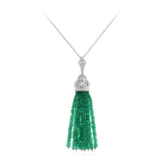 14k White Gold 1/4ct TDW Diamond and 21 1/2ct TGW Emerald Necklace (H-I, SI1-SI2)