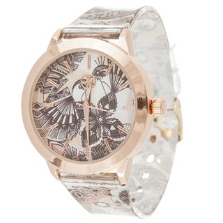 Fortune NYC Ladies Rosetone Case with Bird Print Dial/ Black Rubber Strap Watch