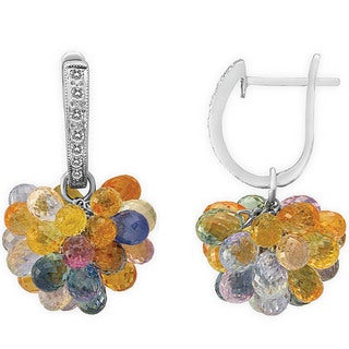 14k White Gold 1/6ct TDW Diamond and 69 1/4ct TGW Multi-gemstone Earrings (I-J, SI1-SI2