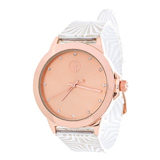 Fortune NYC Ladies Rosetone Case and Dial/ White Rubber Strap Watch