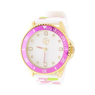 Fortune NYC Ladies Goldtone Case and Silver Dial/ Pink & White Rubber Strap Watch