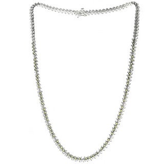 Sterling Silver Peridot and Diamond Accent Necklace (I-J, SI1-SI2)