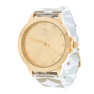 Fortune NYC Ladies Goldtone Case with Dial/ Gold & White Rubber Strap Watch