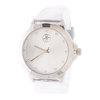 Fortune NYC Ladies Silvertone Case and Dial/ White Rubber Strap Watch