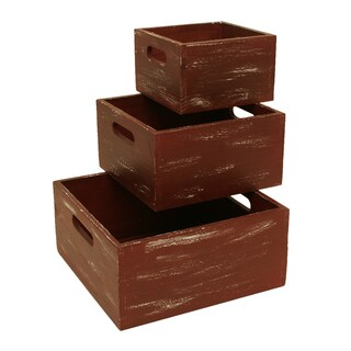 Weathered Red Wood Storage Boxes (Set of 3)