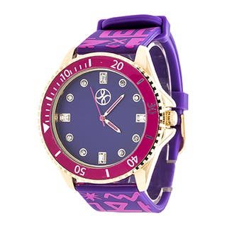Fortune NYC Ladies Goldtone Case and Purple Dial/ Purple Rubber Strap Watch|https://ak1.ostkcdn.com/images/products/11668323/P18597201.jpg?impolicy=medium