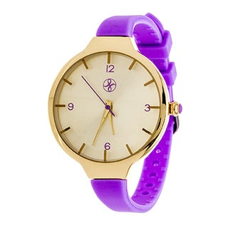 Fortune NYC Slim Ladies Goldtone Case with Purple Rubber Strap Watch