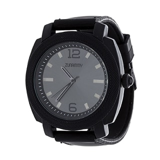 Zunammy Jumbo Men's Black Matte Case/ Black Rubber Strap Watch