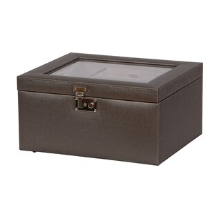 Mele & Co. Linden Glass Top Fashion Textured Pewter Jewelry Box