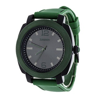 Zunammy Jumbo Men's Green Matte Case/ Green Rubber Strap Watch