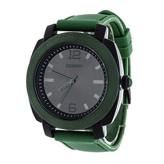 Zunammy Jumbo Men's Green Matte Case/ Green Rubber Strap Watch