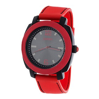 Zunammy Retro Jumbo Men's Red Matte Case/ Red Rubber Strap Watch