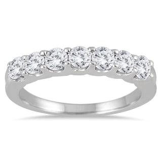 Marquee Jewels 14k White Gold 1ct TDW Prong-set 7-stone Diamond Band (I-J, I2-I3)