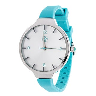 Fortune NYC Slim Ladies Silvertone Case with Turquoise Rubber Strap Watch
