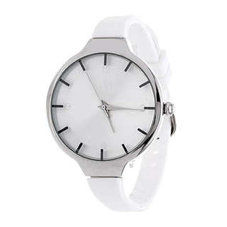 Fortune NYC Slim Ladies Silvertone Case with White Rubber Strap Watch