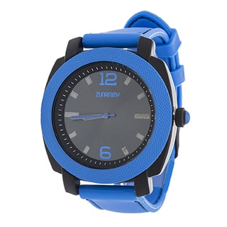Zunammy Retro Jumbo Men's Blue Matte Case/ Blue Rubber Strap Watch