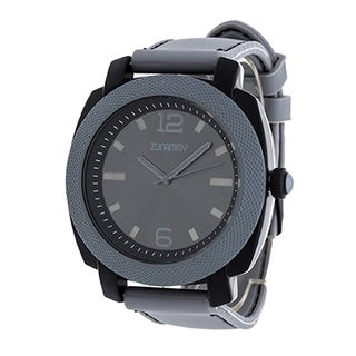 Zunammy Jumbo Men's Grey Matte Case/ Grey Rubber Strap Watch