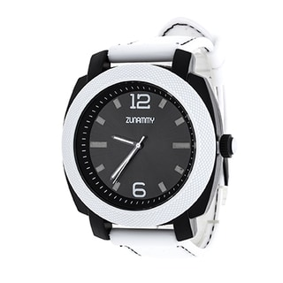 Zunammy Jumbo Men's White Matte Case/ White Rubber Strap Watch