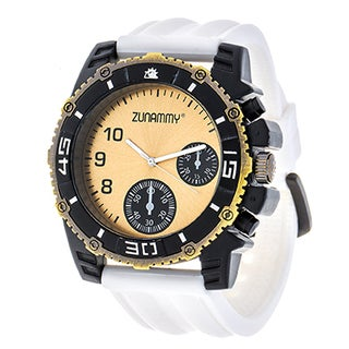 Zunammy Jumbo Men's Gold Case & Ring/ White Rubber Strap Watch