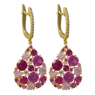 Luxiro Gold Finish Sterling Silver Lab-created Ruby and Cubic Zirconia Teardrop Earrings