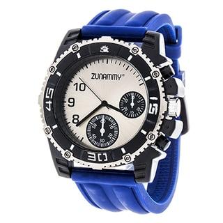 Zunammy Men's Silver Case & Ring / Blue Rubber Strap Watch
