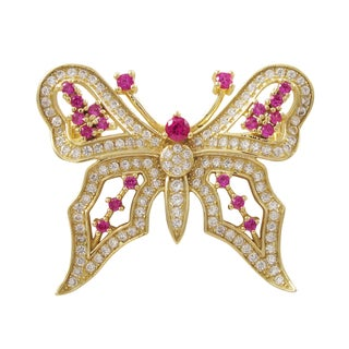 Luxiro Gold Finish Sterling Silver Lab-created Ruby Butterfly Pin Brooch