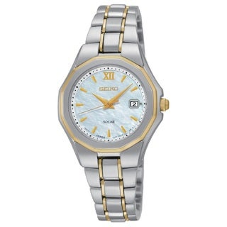 Seiko Women's Stainless Steel Two Tone Solar Powered Watch with a Mother of Pearl Dial