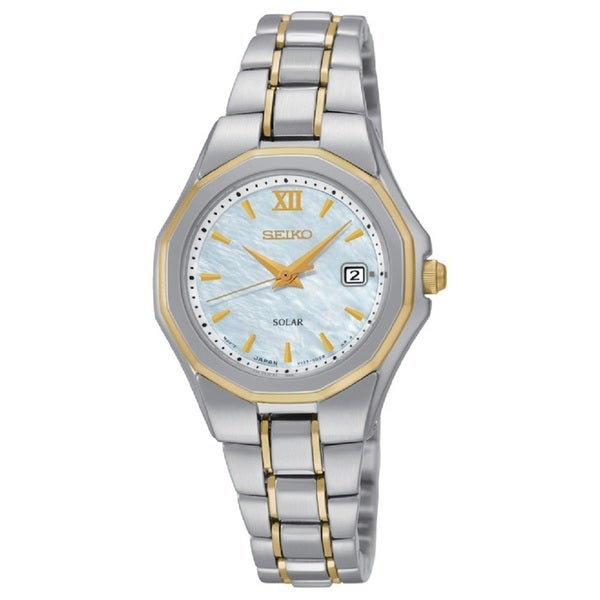 Seiko Women's SUT226 Stainless Steel Two Tone Solar Powered Watch with a Mother of Pearl Dial - silver