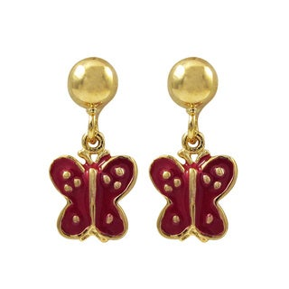 Luxiro Gold Finish Pink or Red Enamel Butterfly Girls Dangle Earrings