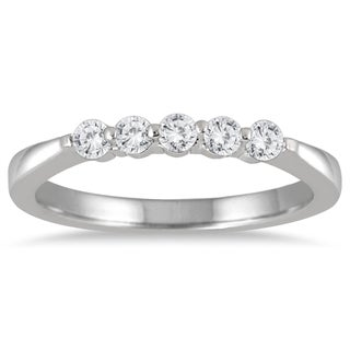 Marquee Jewels 10k White Gold 1/4ct TDW Prong Set 5-stone Diamond Band