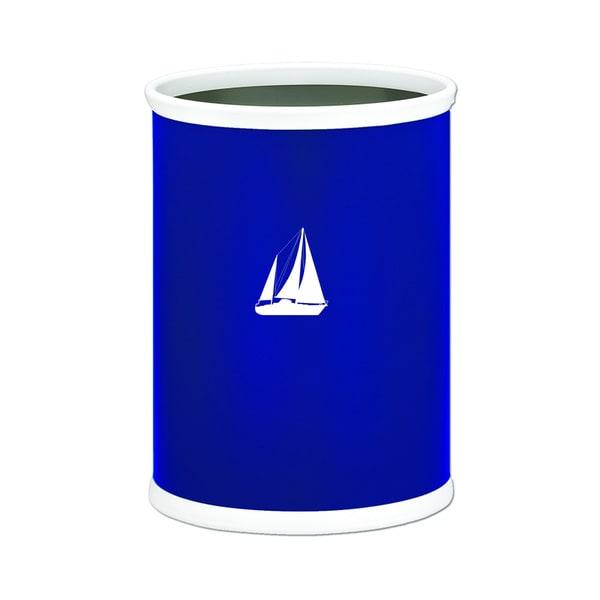 Kasualware 14-inch Oval Waste Basket 13-quart Sailboat