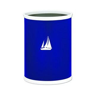 Kraftware Kasualware 14-inch Oval Waste Basket 13-quart Sailboat