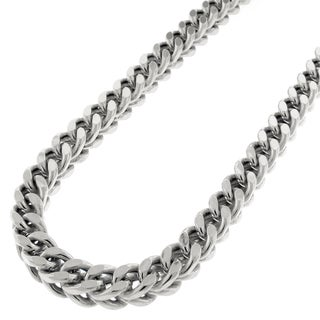 "14k White Gold 6mm Hollow Franco Square Box Link Necklace Chain 30"" - 40"""