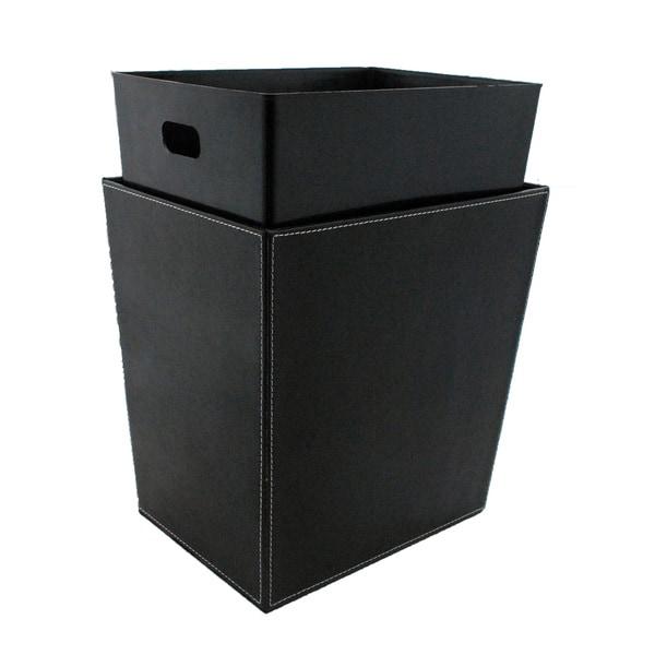 Kraftware Black and White Stitching Recycling Waste Basket