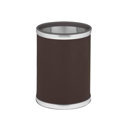 Kraftware Sophisticates with Brushed Chrome 10.75-inch Round Waste Basket