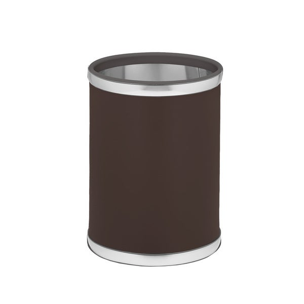 Kraftware Sophisticates with Brushed Chrome 10.75-inch Round Waste Basket