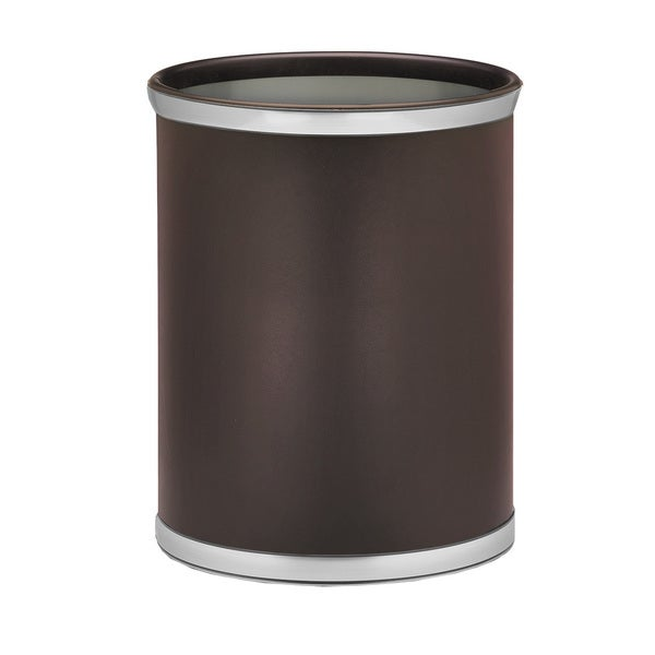 Sophisticates with Brushed Chrome 14-inch Oval Waste Basket