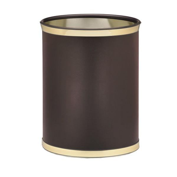 Kraftware Sophisticates with Polished Gold 14-inch Oval Waste Basket