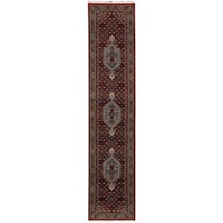 Herat Oriental Indo Hand-knotted Bidjar Red/ Navy Wool Runner (2'9 x 13'10)
