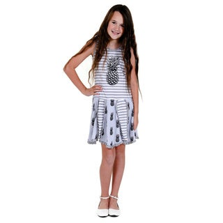 Jelly the Pug Girls' Grey Hankerchief Knit Sleeveless Round Neck Dress