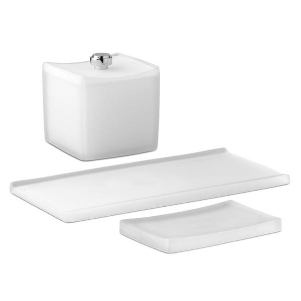 Captiva White Soap Dish/ Accessory Jar/ Amenity Tray (Set of 3)
