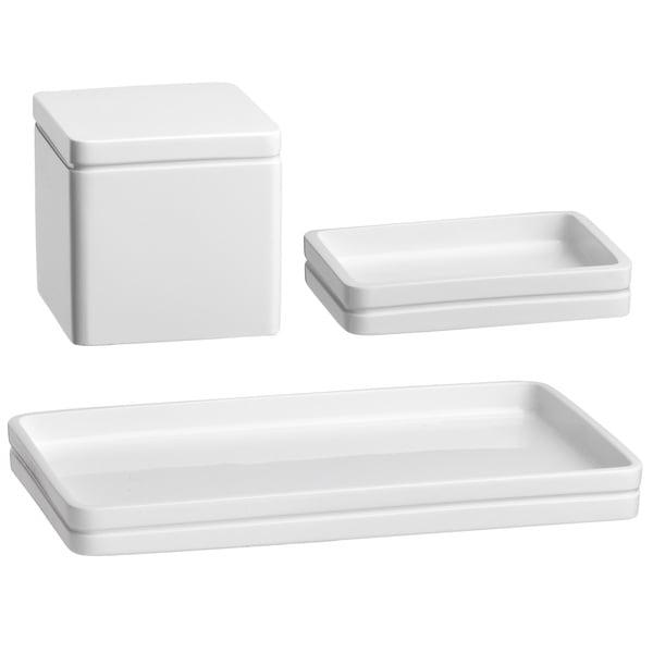 Kraftware Captiva Green Soap Dish/ Accessory Jar/ Amenity Tray (Set of 3)