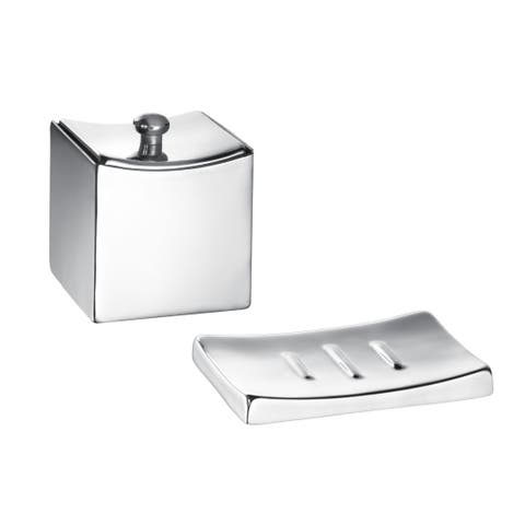 Kraftware Monaco Brushed Soap Dish/ Accessory Jar (Set of 2)