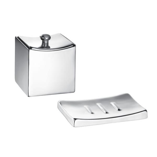 Monaco Brushed Soap Dish/ Accessory Jar (Set of 2)