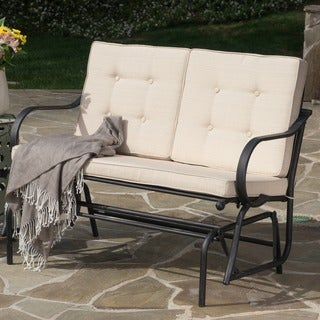 San Jose Outdoor Rocking Bench with Cushions by Christopher Knight Home