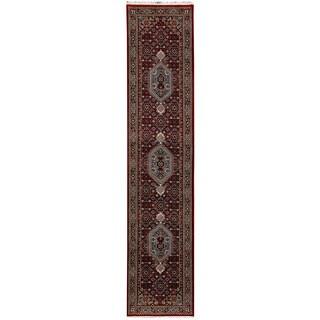 Herat Oriental Indo Hand-knotted Bidjar Red/ Navy Wool Runner (2'7 x 10'3)
