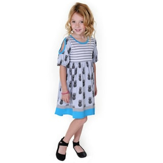 Jelly the Pug Girls' Sydney Blue Knit Short Sleeve Round Neck Dress