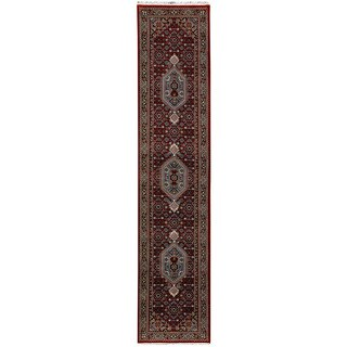 Herat Oriental Indo Hand-knotted Bidjar Red/ Navy Wool Runner (2'7 x 12'8)